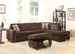 Acme Living Room Furniture by Acme Belville Reversible Sectional Sofa With 2 Pillows Chocolate