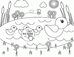 cute duckies spring coloring page for kids seasons coloring pages