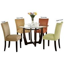 Microfiber Dining Room Chairs Mirage Round Glass Top Table Microfiber Parson Chairs 5 Piece