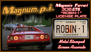 tom selleck 308 this is the hawaii robin 1 license plate from magnum tom