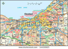 map of cleveland cleveland ohio area map stock vector 144155623