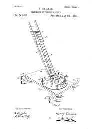 original patent drawing extension ladder u2013 firefighter letter art