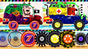 monster truck cartoon videos builds car monster truck car factory car driving truck driver
