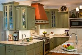 green kitchen cabinets kitchen eclectic with beige tile backsplash