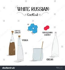 white russian cocktail how make white russian cocktail set stock vector 445133341