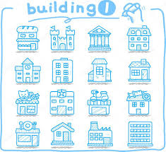 european houses buildings store travel icons u2014 stock vector