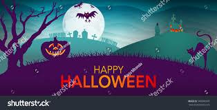 green and purple halloween background night landscape tree pumpkin cat haunted stock vector 506090320