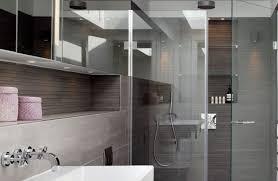 contemporary bathroom ideas with skylight nickel fixed showerheads