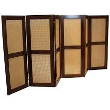 massive danish modern caned solid staved teak frame folding screen