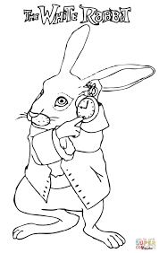 the white rabbit in a hurry coloring page free printable