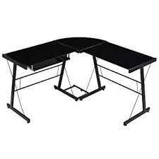 glass top l table amazon com tangkula l shape computer desk pc laptop table glass top