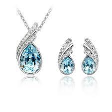 diamond earrings malaysia lovengifts swarovski with jewellery set blue 11street