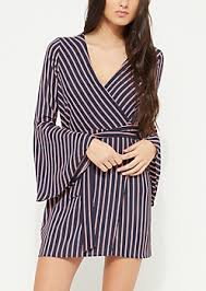 sleeve wrap dress black striped sleeve wrap dress casual dresses rue21