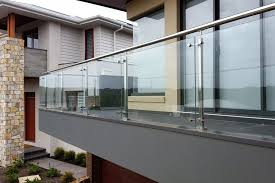 steel square spider post glass balcony stair deck railing