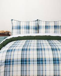 and white plaid twin duvet cover set