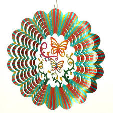 butterfly 3d multi color garden wind spinner metal yard and