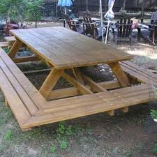 How To Build A Wooden Picnic Table by Best 25 Picnic Tables Ideas On Pinterest Diy Picnic Table