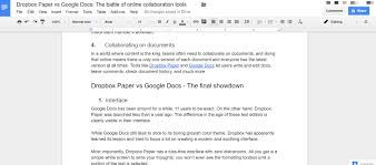 How To Make A Table In Google Spreadsheet Dropbox Paper Vs Google Docs Which Is Better For Online
