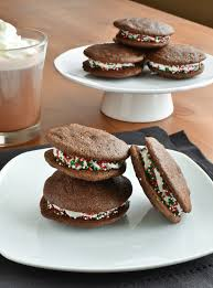 dark chocolate chip holiday mint whoopie pies she bakes here