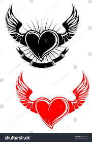heart wings tattoo jpeg version available stock vector 55999939