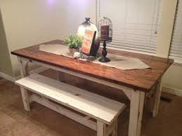 rustic kitchen table with bench