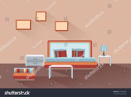 home room interior bedroom furniture bed stock vector 613504892