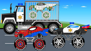 kids monster truck video police truck and spiderman monster truck trucks for kids youtube