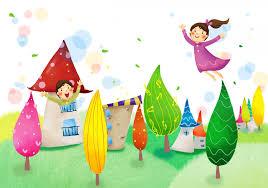 children u0027s wallpaper girls fantasy happiness tree house foliage hd