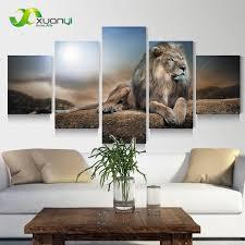 Lion Decor Home 5 Panel Wall Art Modern Printed Animal Lion Oil Painting Canvas