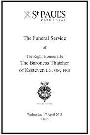 Funeral Programs Order Of Service The Order Of Service For The Funeral Of Baroness Thatcher St