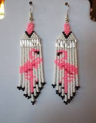 native american style seed beaded flamingo earring pink and