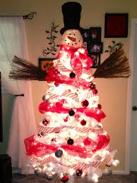 snowman tree pre lit white tree walmart mesh ribbon sams
