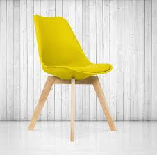 Yellow Dining Chair Scandi Style Dining Chair Modern X Square Base In Wood