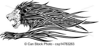 clip art vector of lion side tattoo lion tribal tatto