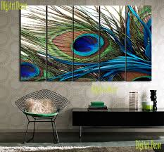 amazon com peacock feather ready to hang 5 piece wall art print