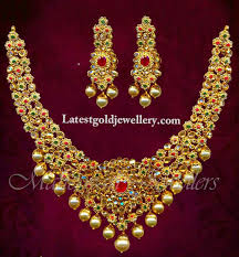 gold stones necklace designs images Stone studded bridal necklace latest gold jewellery designs jpg
