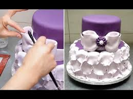 simple petal ruffle cake fast and easy to make tutorial by