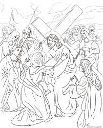 good friday 4 fourth station jesus meets his mother coloring pages