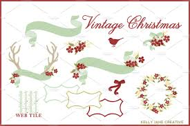 vintage cocktail vector vintage christmas clipart vector illustrations creative market