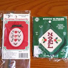 lot of two new counted cross stitch christmas kits stitch u0027n hang