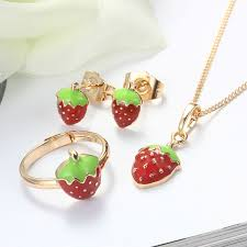 jewellery ring necklace images Baby kids jewelry sets ring earrings pendant necklace gold color jpg