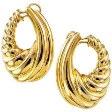 hoop clip on earrings large gold hoop clip on earrings for sale at 1stdibs