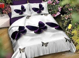belomoda 5d purple butterfly print double bedsheet with 2 pillow