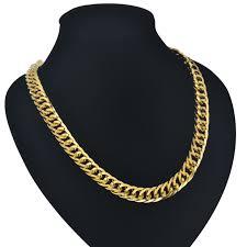 gold big chain necklace images Cuban gold chains 9mm mens gold chain necklace hiphop vintage long jpg