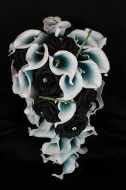 black calla cascading black teal calla bouquet detail wedding design
