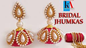 bridal jhumka earrings how to make designer bridal silk thread earrings jhumkas at home