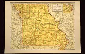 Map Missouri Colorful Yellow Vintage Missouri Map Missouri Wall Art Colored