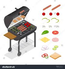 Home Design Kettle Grill Barbecue Isometric View Charcoal Kettle Grill Stock Vector