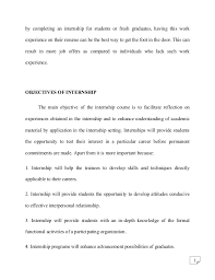 Objective Of Resume For Internship Psychology Internship Report