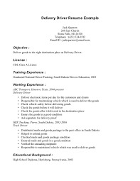 Driver Job Description Resume by Examples Of Resumes For Truck Drivers Resume Templates